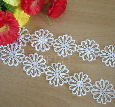 Vintage Flower Embroidered Lace Edge Trim Ribbon Wedding Applique Sewing Craft