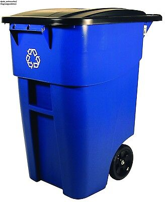 50Gal Recycling Bin Garbage Waste Container Trash Can Lid Tank Utility Yard Park