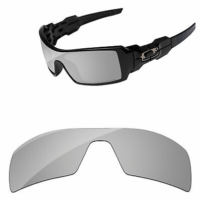 PapaViva Silver Chrome Mirror Polarized Replacement Lenses For-Oakley Oil Rig