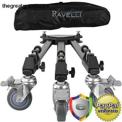 Tripod Dolly for Camera Photo Video Professional Folding Wheels Stand Metal Ball