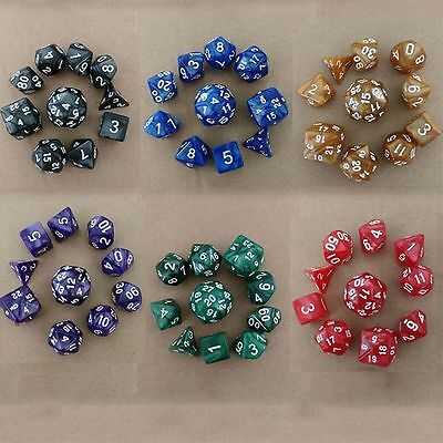 D4-D30 10pcs/Set TRPG Games Dungeons & Dragons Pearl Grain Multi-Sided Dice