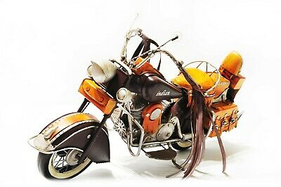 Handmade Yellow Indian Motorcycles 1:8 Tinplate Antique Style Metal Model