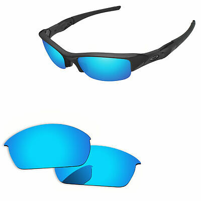 Blue Mirror Polarized Replacement Lenses for-Oakley Flak Jacket Sunglasses