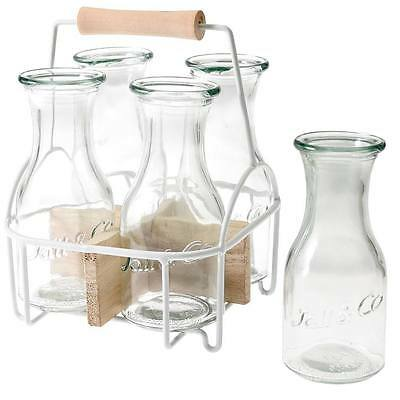 dotcomgiftshop SET OF 4 GLASS CARAFES IN CARRIER