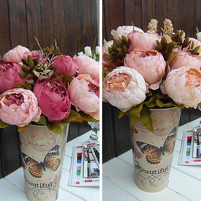 1 Bouquet Artificial Peony Silk Flowers Home Wedding Party Decor Decoration