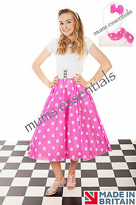 """Adult 1950's 50's GREASE Style Polka Dot 24""""Length Skirt & Scarf/Bow Fancy Dress"""