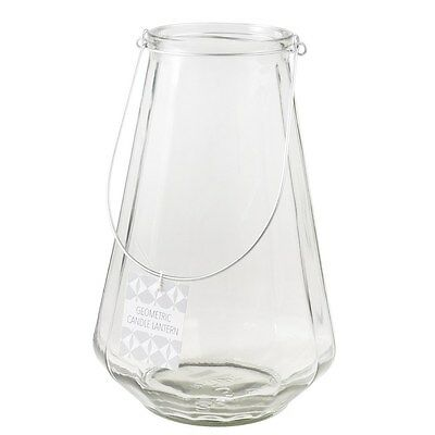 dotcomgiftshop LARGE GEOMETRIC CLEAR CANDLE HOLDER