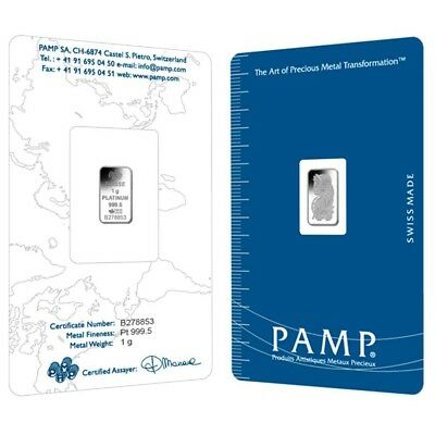 Lot of 2 - 1 gram PAMP Suisse Lady Fortuna Platinum Bar .9995 Fine (In Assay)