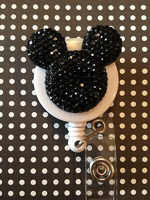 Mickey Mouse Ears ID Badge/holder Retractable Reel W/Crystals