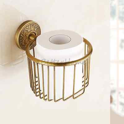 Wall Mount Antique Brass Toilet Roll Paper Basket Bathroom Tissue Paper Holder