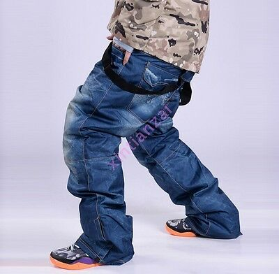 Men Womens waterproof ski pants denim Snowboarding warm Thicken trousers S-3XL
