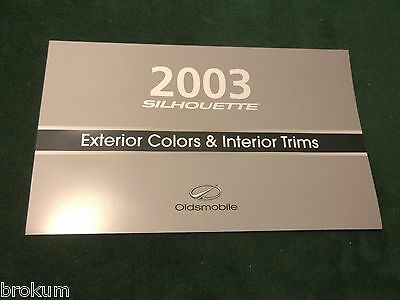 New 2003 Oldsmobile Olds Silhouette Exterior Color Selector Brochure (Box 563)