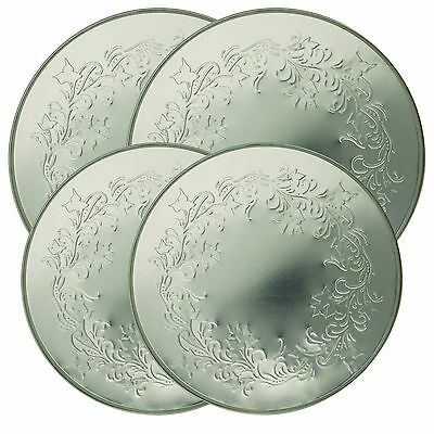 Electric Stove Top Range Round Embossed Design Burner Covers Set of 4 - Silver