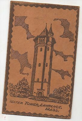 Essex County Water Tower LAWRENCE MA Vintage Massachusetts LEATHER Postcard