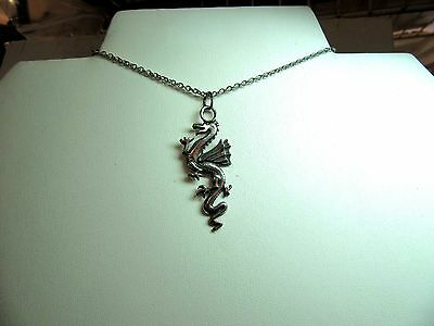 Pewter Dragon (tall & Narrow)  Pendant Necklace