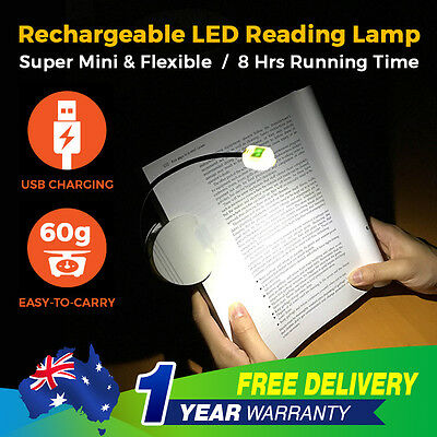 Portable Travel Flexible LED Clamp Clip On Reading Book Light Lamp Rechargeable
