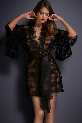 White Or Black Floral Belted Lace Kimono Nightwear Gown Sexy Robe UK 8-16