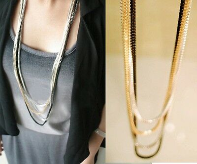 Fashion Vintage Women Pendant Statement Silver Gold Chunky Long Necklace Chain