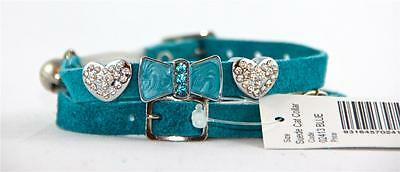 BLUE SUEDE CHARMED CAT COLLAR with BELL