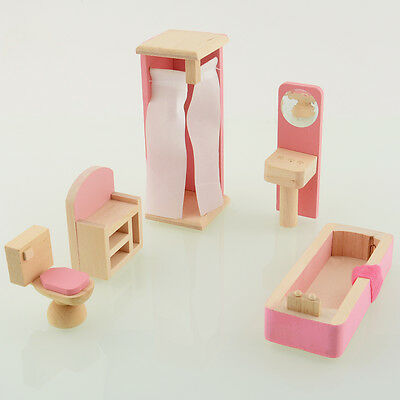 Wooden Doll Bathroom House Furniture Dollhouse Miniature For Kids Gift