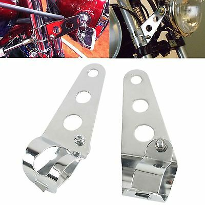 2x Support Patte de Feu Phare Avant Optique Mount Bracket Moto Chrome 28mm-45mm