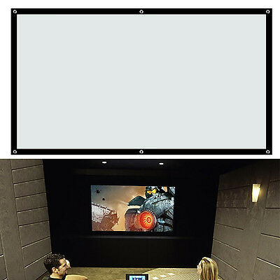 100 inch HD Projection Screen Home Cinema Projector Fabric 16:9 Matt White