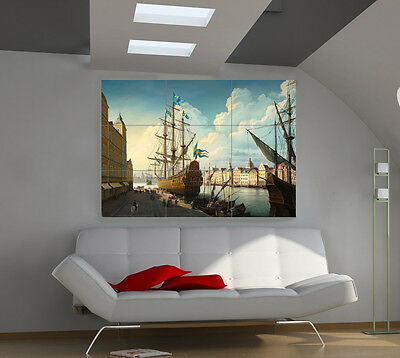 18Th Century Ship large giant vessels poster print photo mural wall art ii501
