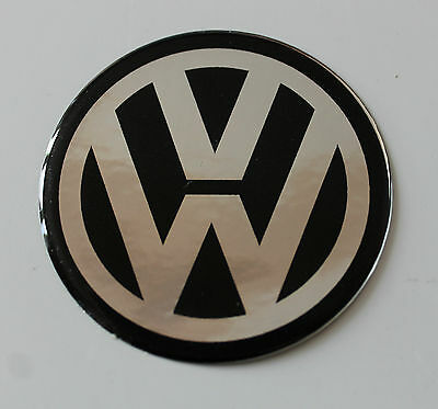VW CHROME/BLACK Sticker/Decal - 30mm DIAMETER HIGH GLOSS DOMED GEL FINISH