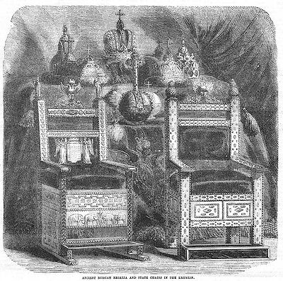 RUSSIA Ancient Regalia & State Chairs in the Kremlin - Antique Print 1856