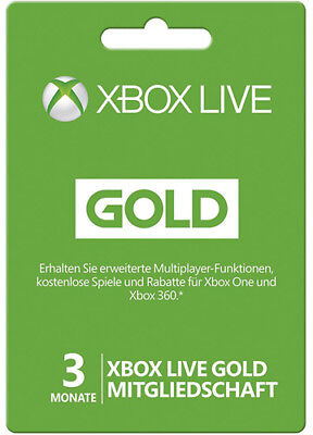 XBOX 360 LIVE 3 MONATE GOLD MITGLIEDSCHAFT Month Card KARTE CODE Key