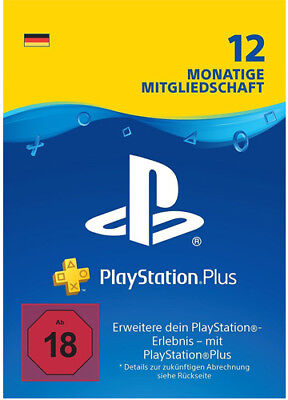 DE PlayStation Plus 12 Monate [365 Tage] Karte Key Code PSN PS4 PS3 PSP