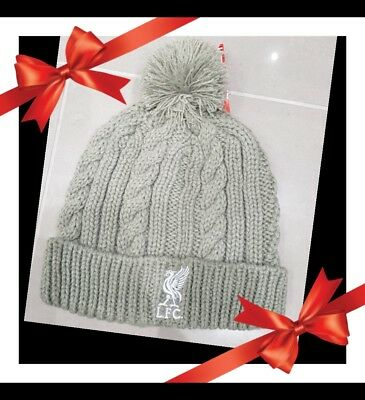 Liverpool Official Cable Style Bobble Hat - Grey