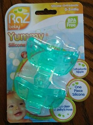 RaZbaby Yummy Silicone Orthodontic Pacifiers Newborn 0-3 months 2-pk BPA FREE