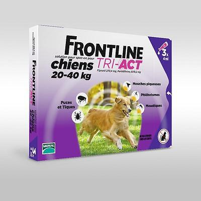 Frontline Tri-Act Chien L  20-40Kgs Spot-on 3 Pipettes
