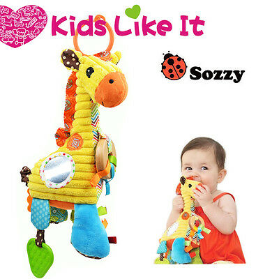 NEW Sozzy SOFT Baby Giraffe RATTLE Teether Pram COT Hanging MUSICAL TOY 27CM