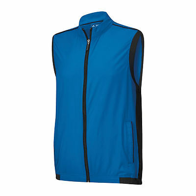 New Adidas Golf ClimaProof Stretch Wind Vest Full Zip Mens Blue Large