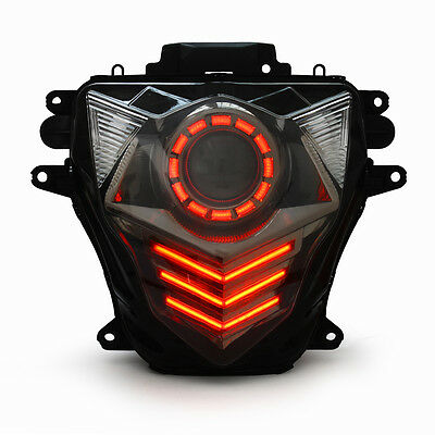 KT LED Halo Angel Eye Headlight Assembly for Suzuki GSXR750 2011-2017 K11 Red