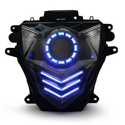 KT LED Angel Halo Eye Headlight Assembly for Suzuki GSXR750 2011-2017 K11 Blue