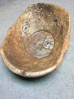 Early Primitive Large Wood Dough Bowl Trencher with Heavy Burls ~Handcarved