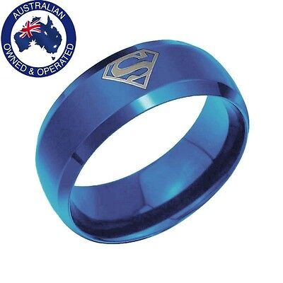 Blue Superman Ring Stainless Steel Ring Hero Comicbook + Free Pendant & Necklace