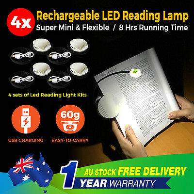 4x Portable LED Clip On Reading Light Book Kindle Foldable Holder Rechargeable