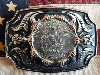 New Large Usa American One Dollar Coin Belt Buckle Silver/black Metal Western
