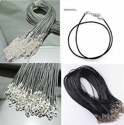 5 Pcs PU Leather Chains Necklace WOAU Charms Findings String Cord 1.5 mm Hot
