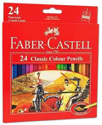 24 FABER CASTELL Classic Colour Pencil Art Colouring Coloured Eco Pencils Bulk