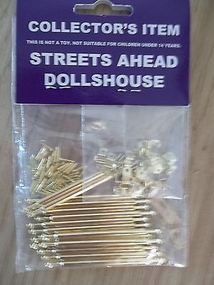 Dolls House Miniatures 1:12th Scale Stair Rods 15 Rods & 30 Brackets New DIY621