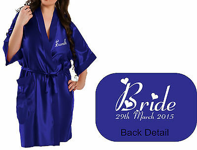 NEW Personalised ROYAL BLUE Bridal Satin Robe / Gown Wedding Party / Gift Bag