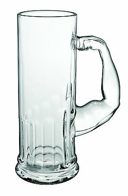 Tankard Beer Glass Mug with Muscle Arm Handle 0.5L Bar Glass Drink Party Pub
