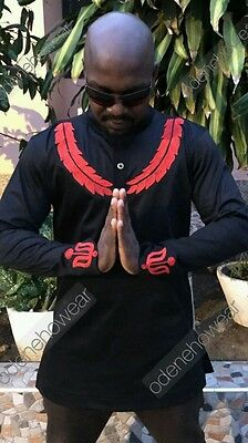 Odeneho Wear Men's Black Polished Cotton Top/Red Embroidery. African Clothing