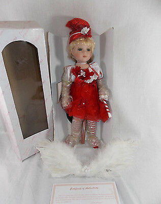 "KINNEX CANDY CANE CHRISTMAS ANGEL PORCELAIN 16"" DOLL Blond Hair Feathers Hat"
