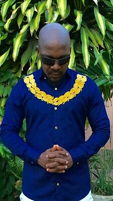 Odeneho Wear Men Blue Polished Cotton Top/Gold Embroidery.African Clothing.